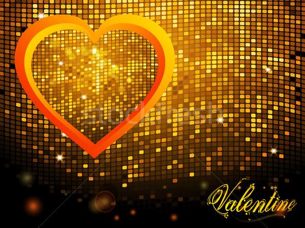 Valentijn mozaiek disco muur tekst Rood Stockfoto © elaine