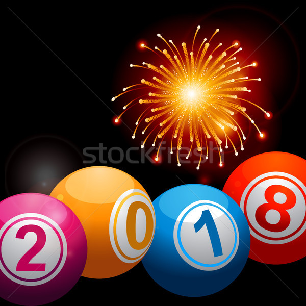 Nouvelle ans bingo loterie feux d'artifice Photo stock © elaine
