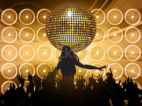 Disco ball ściany głośniki złoty taniec sylwetki Zdjęcia stock © elaine