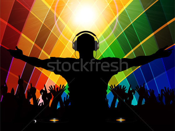 DJ and crowd silhouette on multicoloured background Stock photo © elaine