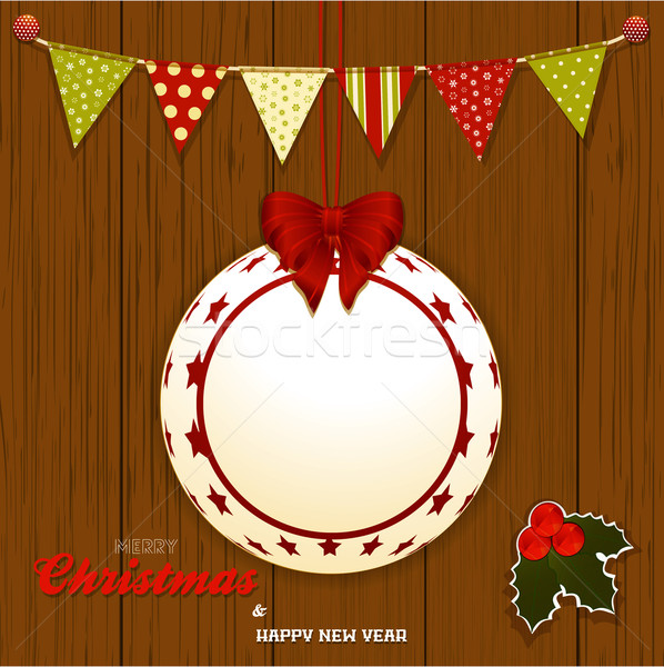 Christmas wood background with bunting and bauble Stock photo © elaine