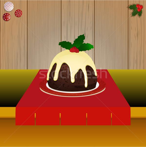 Natal pudim tabela madeira bolo sombra Foto stock © elaine