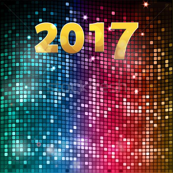 Vinte dezessete mosaico festa dourado ano novo Foto stock © elaine