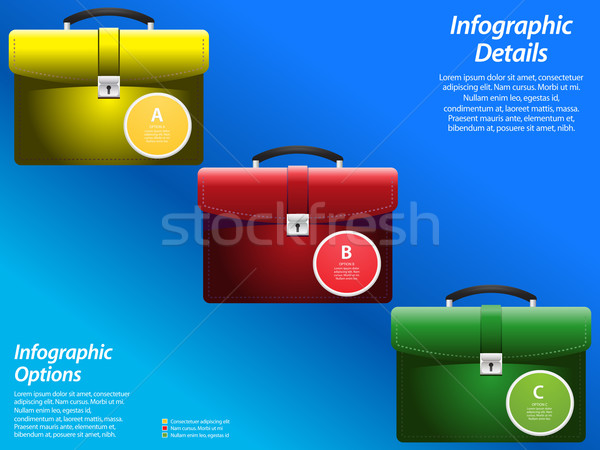 Infographic with briefcase on blue background Stock photo © elaine