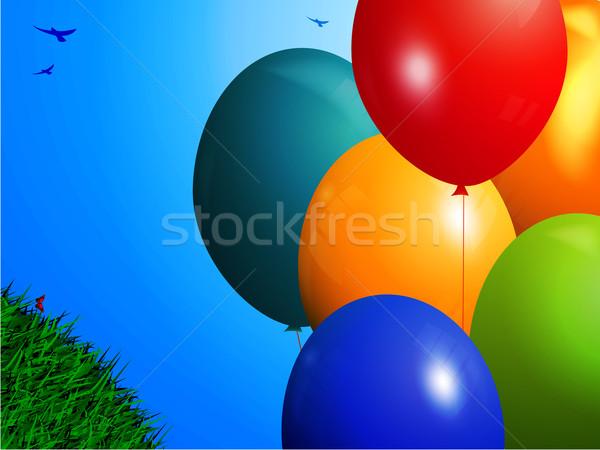 Voorjaar kleurrijk ballonnen landschap 3D groen gras Stockfoto © elaine