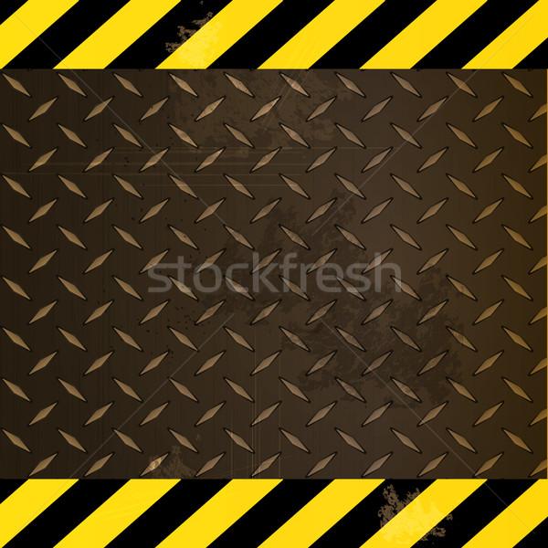 メタリック ダイヤモンド プレート 黄色 黒 さびた ストックフォト © elaine