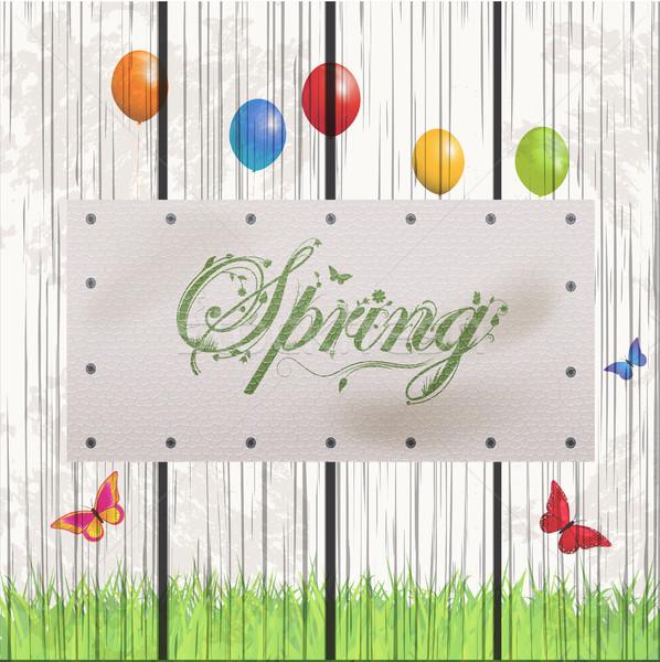 Printemps floral texte blanche cuir étiquette Photo stock © elaine