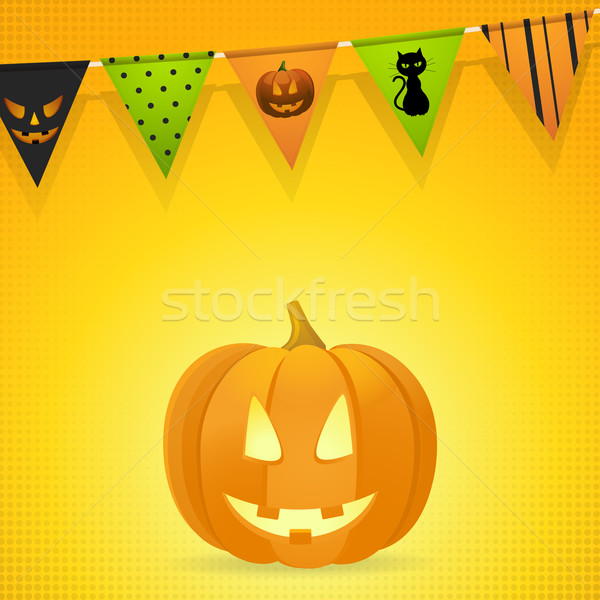 halloween pumpkin with bunting on an orange background Stock photo © elaine