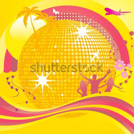 abstract summer background with DJ and disco ball Stock photo © elaine