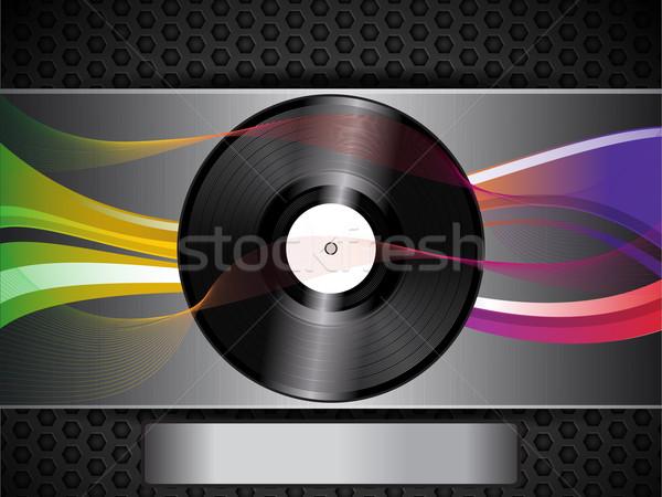 vinyl record and waves on brushed metallic background and panel Stock photo © elaine
