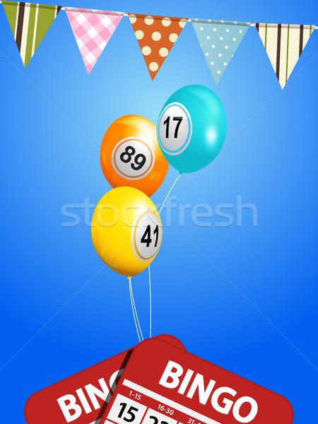 Bingo balões cartões flutuante blue sky primavera Foto stock © elaine