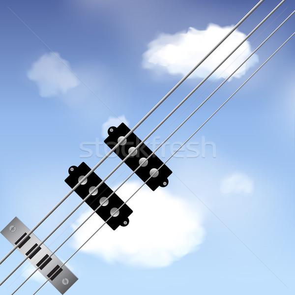 Bass guitar strings over sky Stock photo © elaine