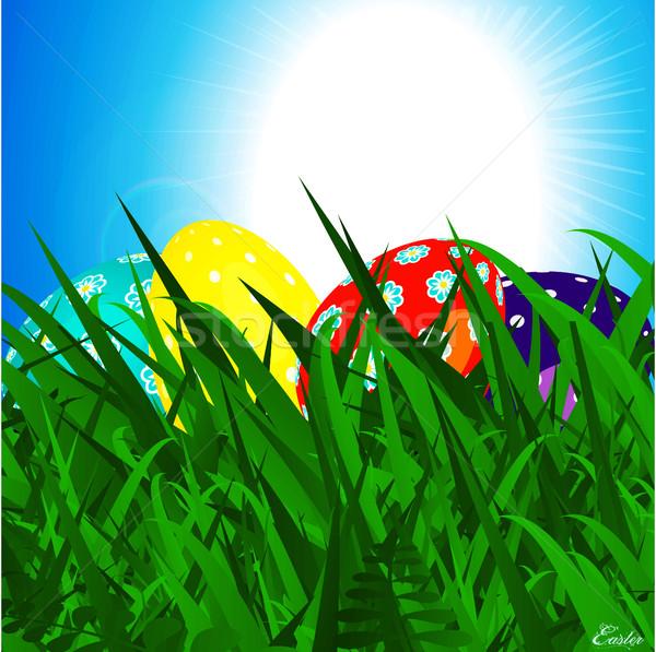 пасхальных яиц трава Blue Sky 3d иллюстрации украшенный Сток-фото © elaine