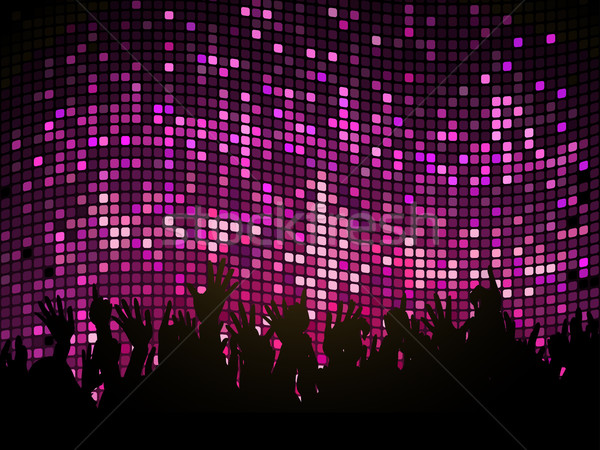 Stock photo: DJ and crowd on purple mosaic background