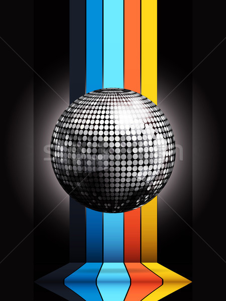 Argent boule disco multicolore noir 3d illustration Photo stock © elaine