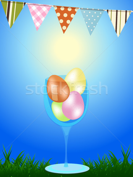 Easter eggs in a glass wn blue background with bunting Stock photo © elaine