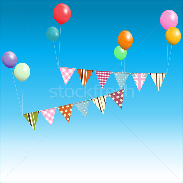 Bunting floating with balloons over blue sky Stock photo © elaine