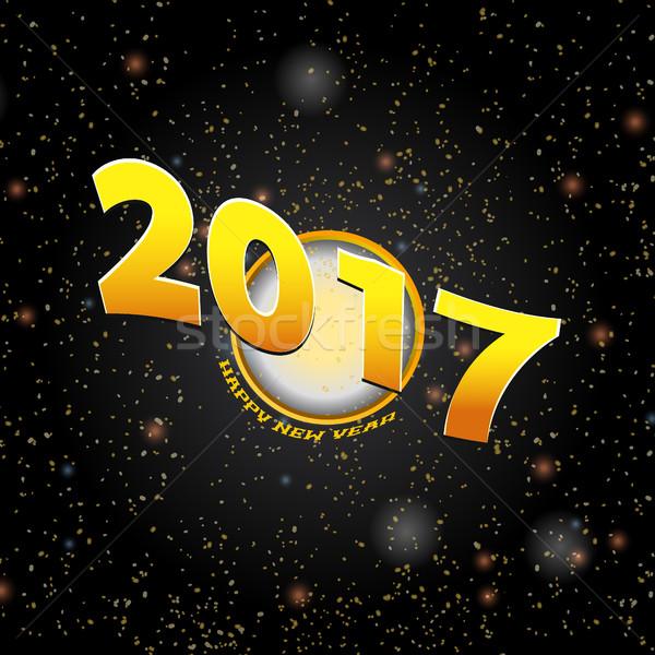 Happy new year vingt dix-sept nouvelle année or cercle Photo stock © elaine