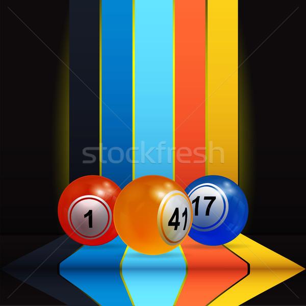 3D bingo lottery nalls over vertical stripes and shelve Stock photo © elaine