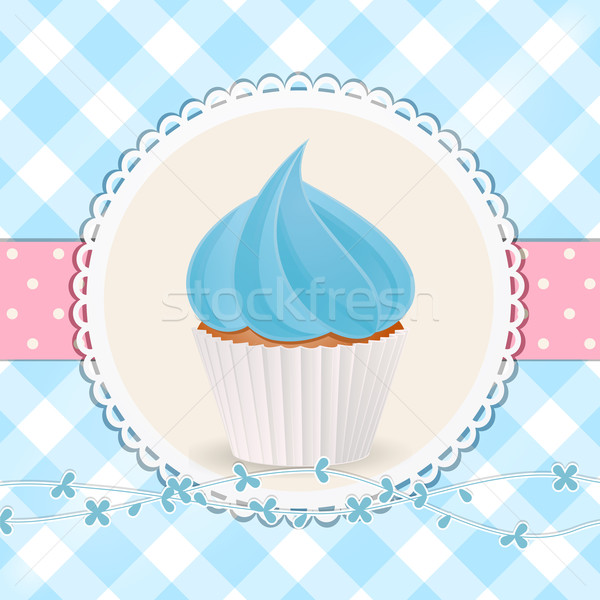 cupcake with blue icing on blue gingham background Stock photo © elaine