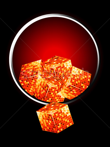 Golden cubes over metallic border Stock photo © elaine