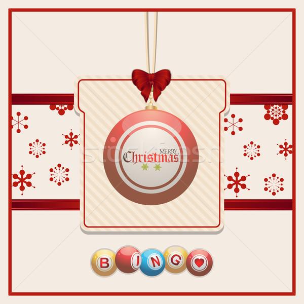 Noël bingo tag rouge crème babiole Photo stock © elaine