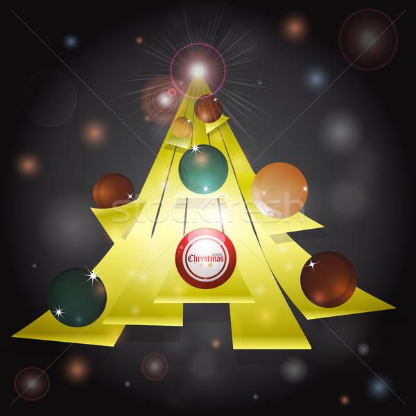 Kerstboom abstract Geel tekst donkere Stockfoto © elaine