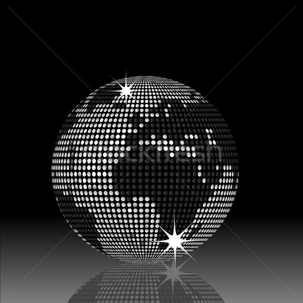 Monde disco balle noir argent carte Photo stock © elaine