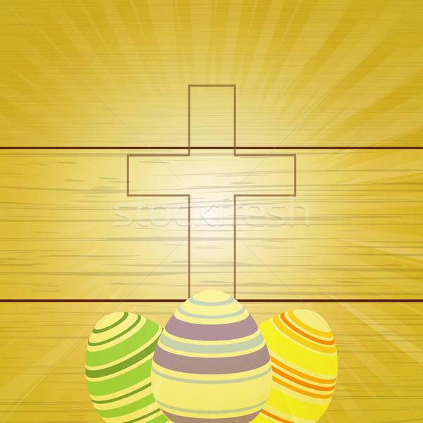 Huevos de Pascua cruz vintage madera Foto stock © elaine