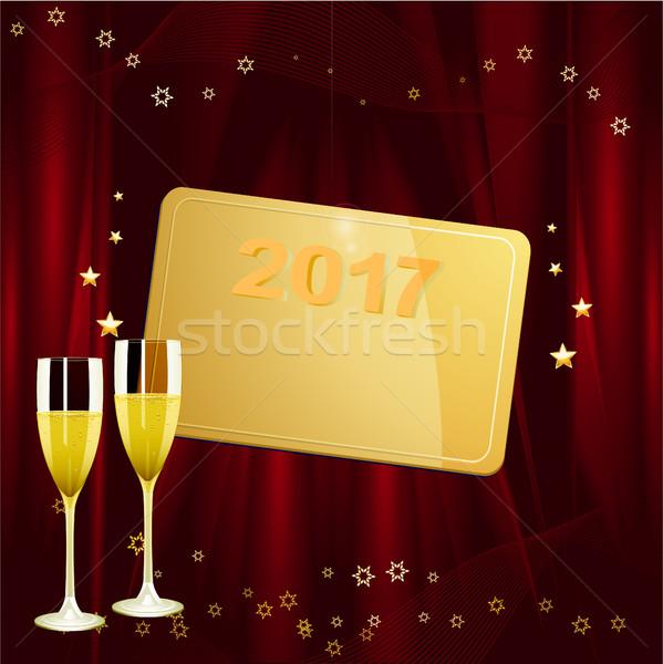 Nowego rok złoty tag data szampana Zdjęcia stock © elaine