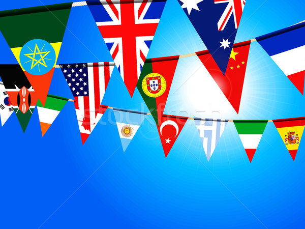 World bunting flags over sunny sky Stock photo © elaine