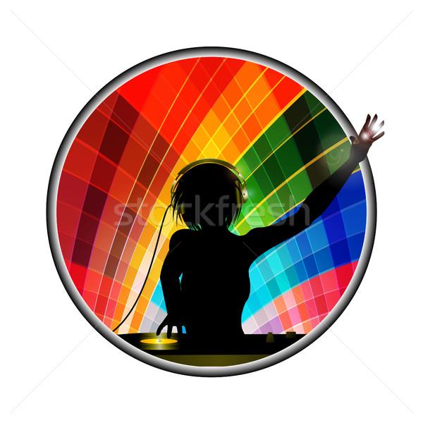 Femminile silhouette multicolore confine record deck Foto d'archivio © elaine