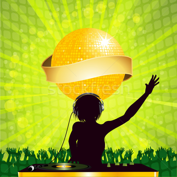 female DJ with disco ball and banner Stock photo © elaine