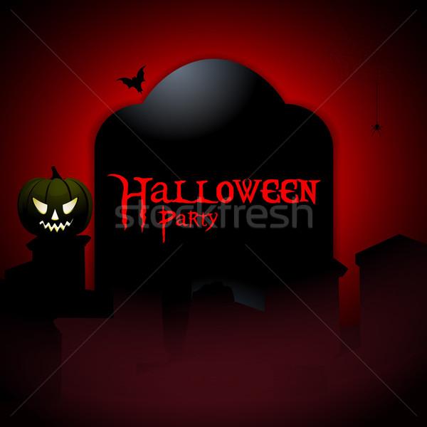 Halloween fiesta lápida sepulcral calabaza bate muestra Foto stock © elaine