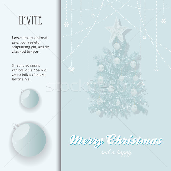 Christmas invite with bauble and Tree Stock photo © elaine