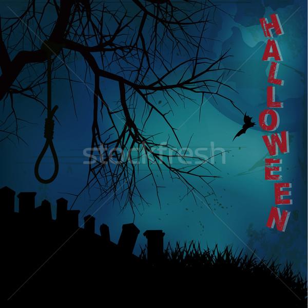 текста кладбища Хэллоуин дерево луна синий Сток-фото © elaine
