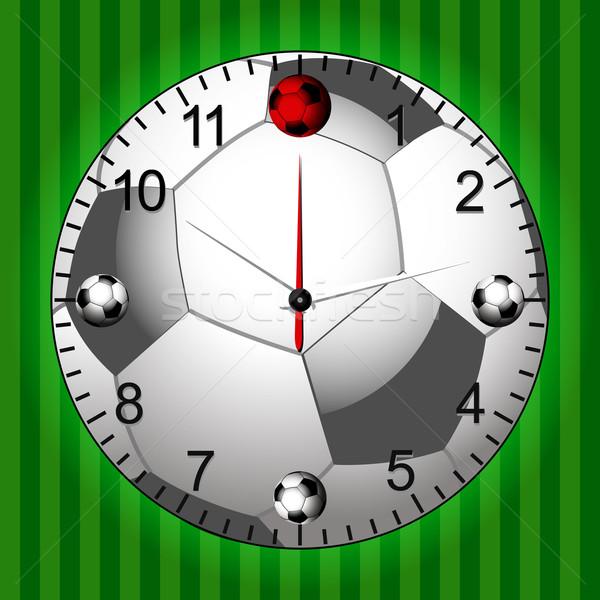 Voetbal voetbal klok groene voetbalveld sport Stockfoto © elaine