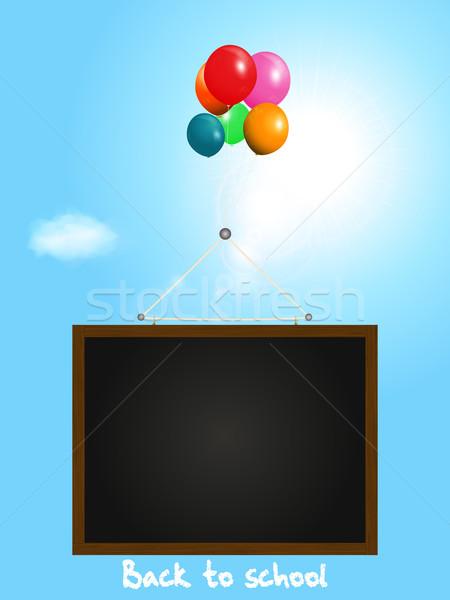 黒板 風船 晴れた 空 青 ストックフォト © elaine