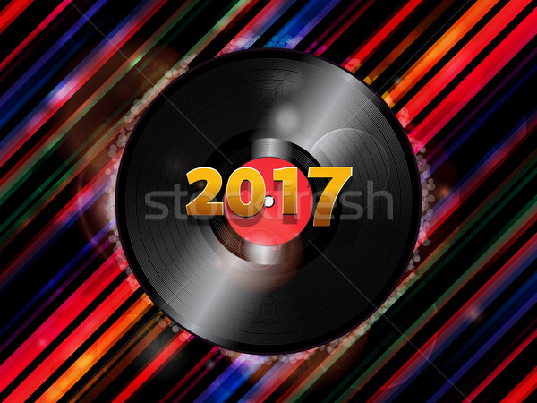 Twenty Seventeen New Year vinyl record background Stock photo © elaine