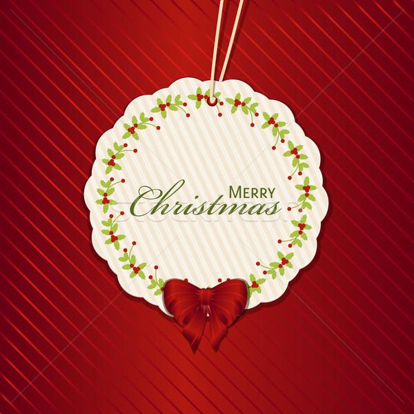 Navidad presente etiqueta rojo mensaje vacaciones Foto stock © elaine