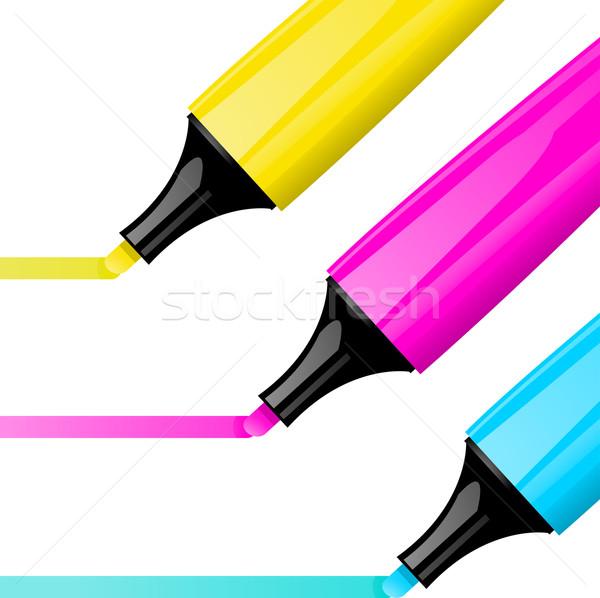 Szövegkiemelő citromsárga rózsaszín kék tollak toll Stock fotó © elaine