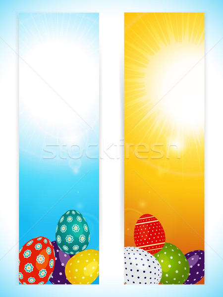 Páscoa vertical banners decorado ovos dois Foto stock © elaine