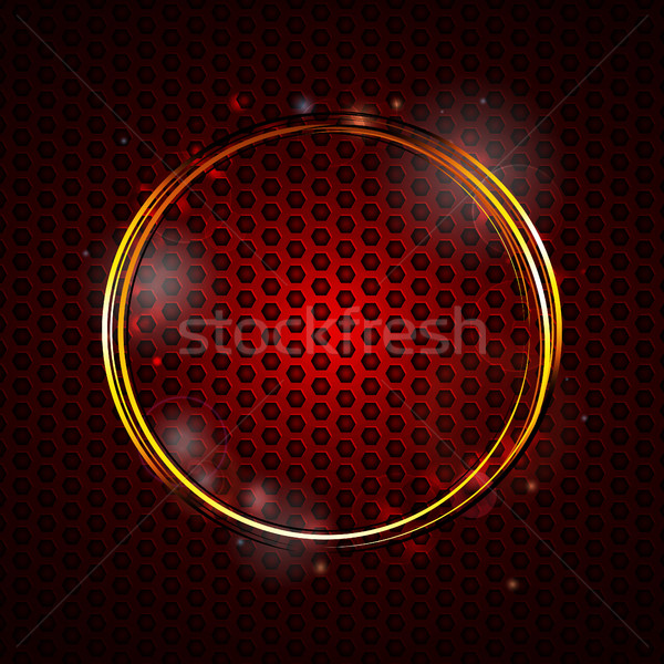 Gouden cirkels Rood honingraat structuur Stockfoto © elaine