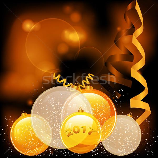 Złoty christmas szklisty dekoracje Zdjęcia stock © elaine