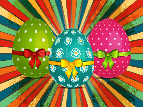 Easter eggs over retro starburst Stock photo © elaine