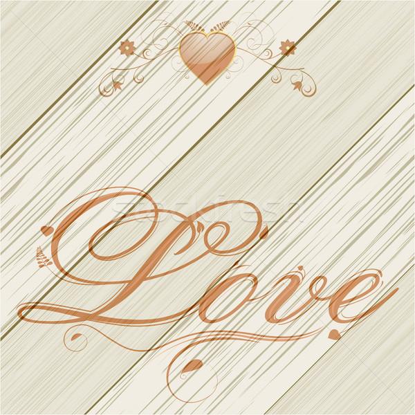 Amour texte coeur bois panneau floral Photo stock © elaine