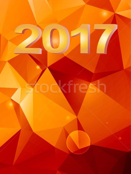 Vinte dezessete geométrico vermelho laranja 3D Foto stock © elaine