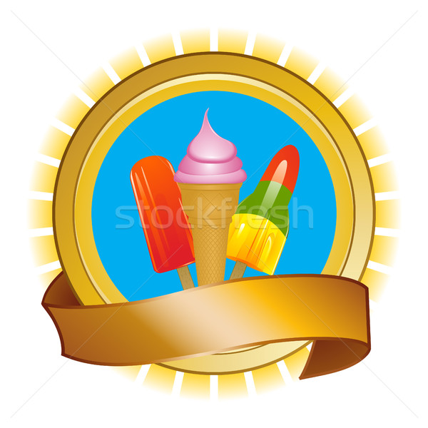 Ice cream and ice lollies on shield and banner Stock photo © elaine