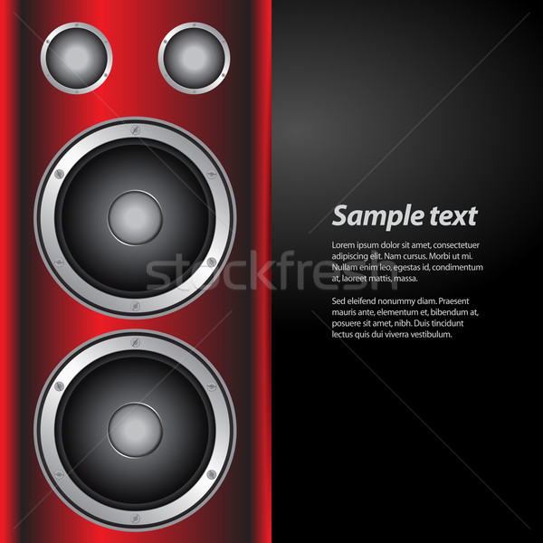music party invite with speakers on red and white background Stock photo © elaine