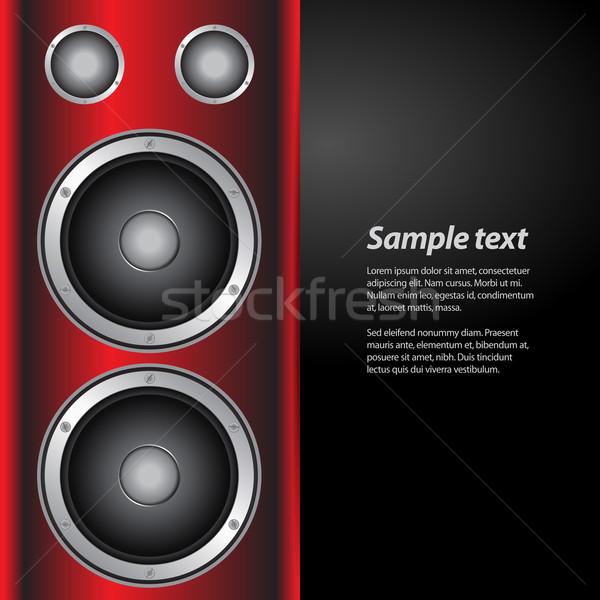 Stockfoto: Muziek · partij · sprekers · Rood · witte · groot